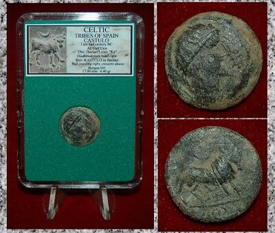 Ancient Coin CELTIC SPAIN CASTULO Diadem Head Crescent and Bull On Reverse