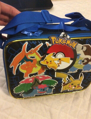 NEW 2015 POKEMON PIKACHU SCHOOL LUNCH BAG LUNCHBOX Shoulder Strap 2 zippers US