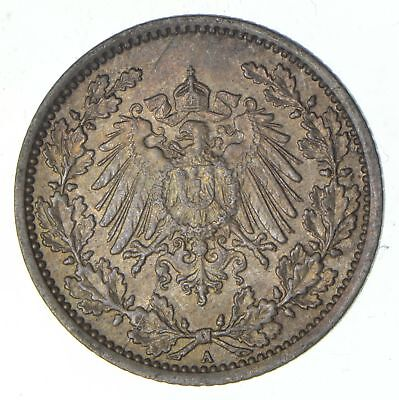 SILVER - 1918 Germany 1/2 Mark - World Silver Coin *134