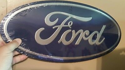 FORD BLUE OVAL Chrome metal embossed garage mancave automotive sign man cave