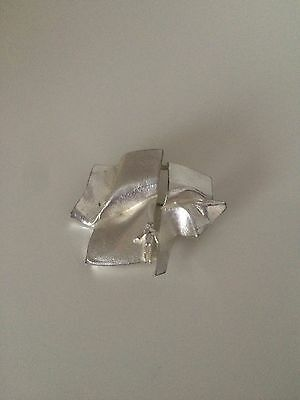 Vintage 1970 Lapponia Bjorn Weckstrom Sterling Silver Brooch 'man In Space'