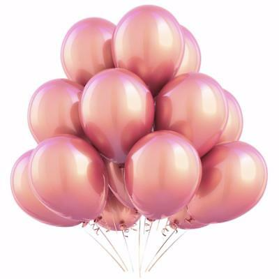 10 Metallic Pearl Rose Gold Balloons (Helium QLTY)-Party Decorations-Weddings
