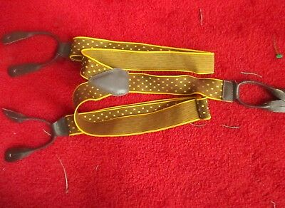 Vtg 60s GOLD/BROWN Elastic Suspenders Braces Leather Button clips
