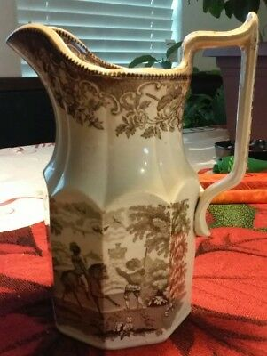Antique TRANSFERWARE PITCHER Vintage 1840s - 1900 Rare Beautiful