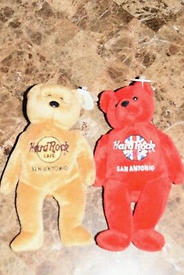 Set of Hard Rock Cafe stuffed bears San Antonio MINT Rita Beara  & Isaac Beara