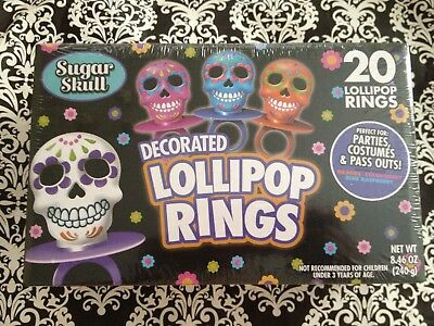 LOT 20 Day of The Dead Skulls Sugar Skull/s party Favor/s candy Jewelry Rings