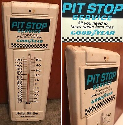 """Vintage Kelle Oil Co GOODYEAR Advertising Pit Stop Farm Tire Thermometer 15""""x 5"""""""