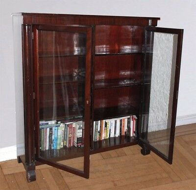 Mahogany American Empire Antique Bookcase Cabinet C Scroll Feet Glass Doors