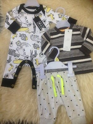 Cute 1M New Tagged My K Sleepsuit/mothercare Joggers/stripe Top Comb P&p £8.75!