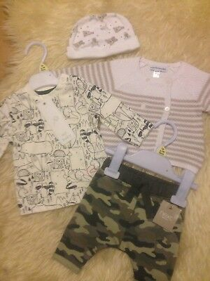 Cute Nb Next Bnwt Joggers/animal New Top/vertaudet Cardi/hat Low/comb P&p £7.50!