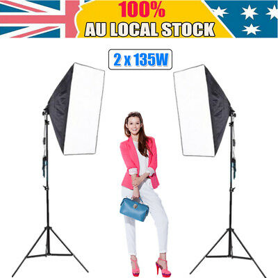 Photography Studio 2X135W Continuous Lighting Softbox Soft Box Light Stand Kit