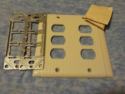 """""""NOS""""   Vintage Uniline Deco Ribbed Bakelite Ivory 6 Switch 2 Gang Cover Plate"""
