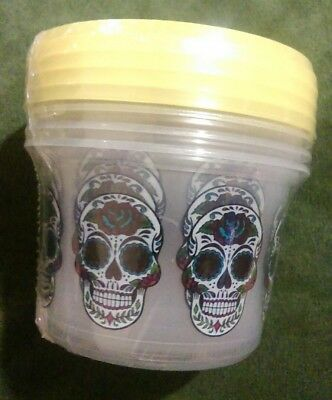 Sugar Skull Reusable Storage Containers  Deli Style 16 oz Set of 4