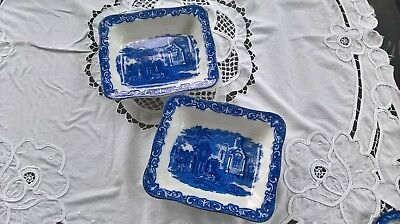 Antique 2 X George Jones Abbey Pattern Shredded Wheat Dishes Twin Portion Size