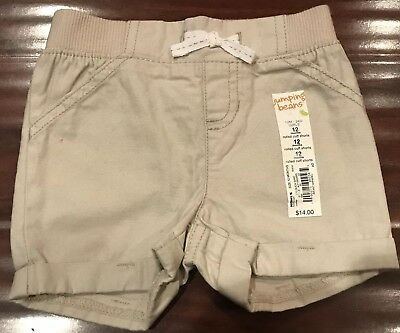 New!! Jumping Beans Baby Girl Rolled Cuff Shorts Size 12 Months Khaki