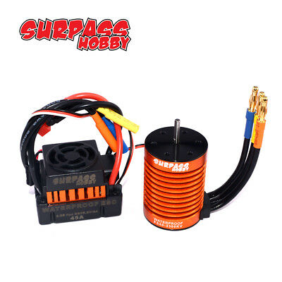 Set Brushless 3300KV F540 Motor+ 45A ESC Wasserdicht für 1:10 Auto LKW Car DEW