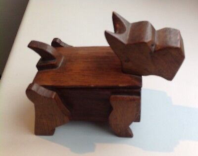 Folk Art, Outsider Art, Wooden Box In Shape Of A Dog, With Hinged Lid