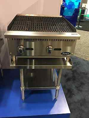 """New 24"""" Radiant Char Broiler With Stainless Equipment Stand Package Deal Gas"""