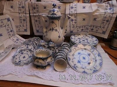 Complete Royal Copenhagen Blue Fluted Full Lace Coffee set. 1st quality 21 p.