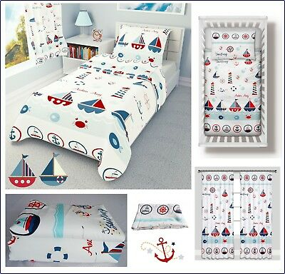 BOATS SEA NURSERY BEDDING FOR COT BED TODDLER BED - duvet covers curtains bumper