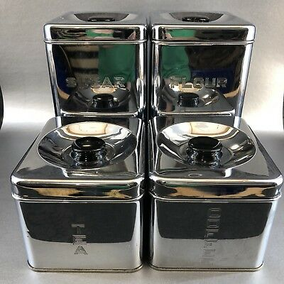 Lincoln Beauty Ware Chrome 4 Canister Set Stacking Mid Century Modern MCM Silver