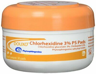 NEW Sogeval Douxo 30 Count Chlorhexidine 3 Percent PS Pads FREE SHIPPING
