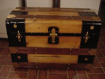 Ladycomet Refinished Flat Top Steamer Trunk Antique Chest w/Key