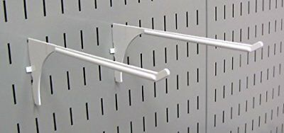 Wall Control Pegboard 9 Inch Reach Extended Slotted Hook Pair  White 10 ER 004 W