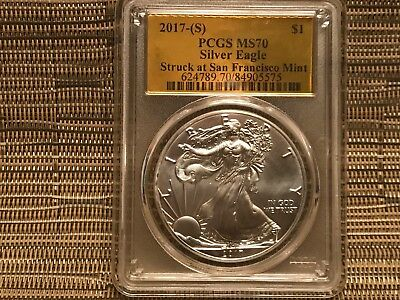 2017 (S) $1 American Silver Eagle PCGS MS70 Gold Foil Only 135 With This Label!