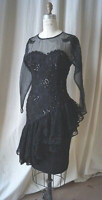 black lace and transparency sequins 80s holiday coctail party dress