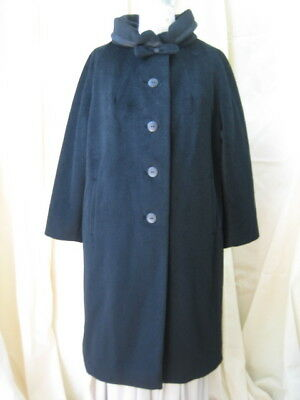 60s Saks Fifth Ave wool coat with neck bow Arnold Constable Design
