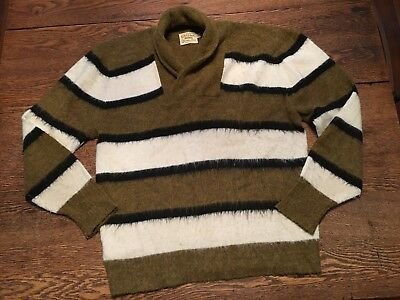 Vtg 50's Men's Rockabilly Sweater Orlon Stripe Pullover Shawl Collar Sweater Sz