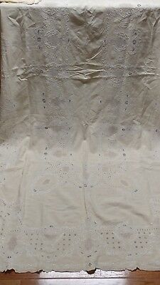 """Antique heavy embroidery Madeira linen tablecloth 110""""×64"""" oversize napkins"""
