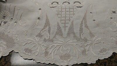 """Antique ornamental embroidery Madeira tablecloth 114""""×66"""""""