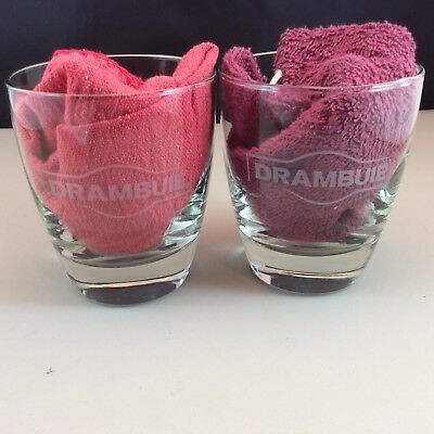 TWO Drambuie Old-Fashioned On-the-rocks Glasses Bar Weighted Bottom Etched Logo