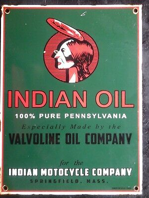 Vintage Indian Motorcycle Oil made by Valvoline porcelain sign scooter Americana