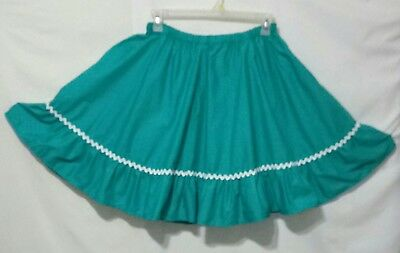 Women's Teal Hand Made Square Dance Skirt ~ Women's Size S/M