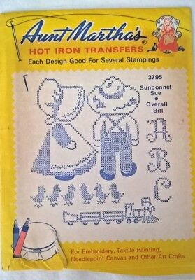 Vintage Aunt Martha's Hot Iron Transfers  3795 Sunbonnet Sue Overall Bill