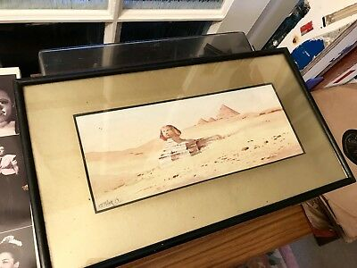 Framed Early 20th Century Watercolour Painting the Sphinx Egypt by G Miller 1919