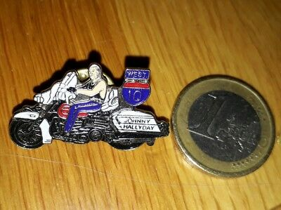Pin's Johnny Hallyday BADGE rock'n'roll harley davidson moto route 10 West USA