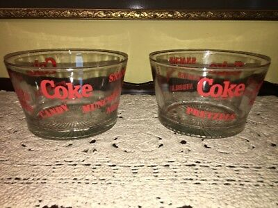 "Pair (2) COKE Coca~Cola Glass Snack Bowl ""Pretzels, Munchies, Candy, Nibbles"