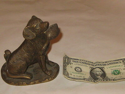 """Bronze Labrador with duck-5-1/2"""" by 5"""" by 4""""- GREAT condition"""