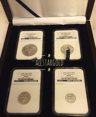 2007 4-coin Platinum Eagle Set Ms-69 ngc early release