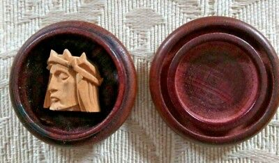 Hand Carved Wooden face of Christ Encased in Wood Made in Oberammergau, Germany