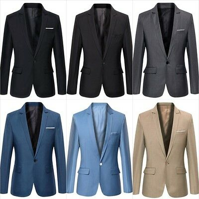 Mens Slim Fit Casual One Button Blazer Jacket Formal Business Work Size S - XL