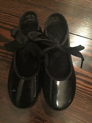 Capezio Black Patent Leather Jazz Youth Size  11-1/2 Tap Shoes