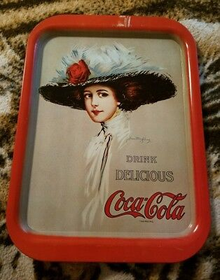 Vintage Coca Cola Tin Tray Hamilton King 1909 Girl Coke Advertising Sign