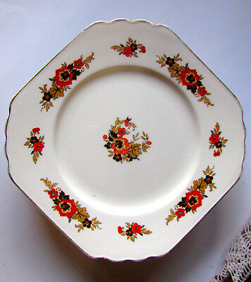 "Wedgwood & Co. Richelieu Square Orange and Black Flower 10 1/2"" Cake Plate"