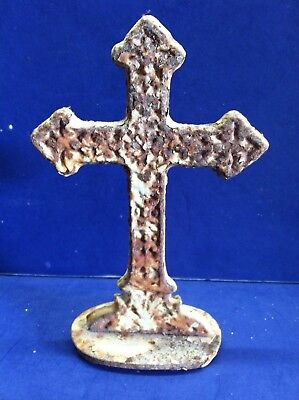 Cast Iron Standing Cross Paperweight White Rustic Crucifix Christian