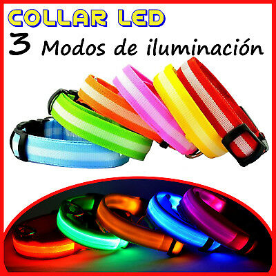 Collar con Luz LED Ajustable Luminoso para Perro Mascota de Nylon Seguridad